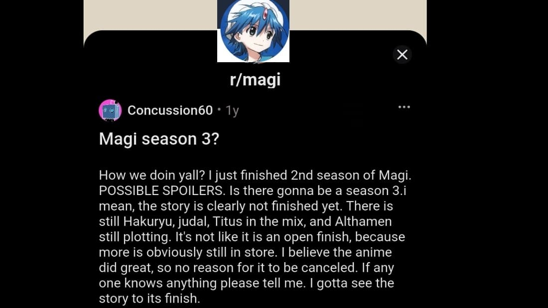 reddit fans reaction on magi season 3