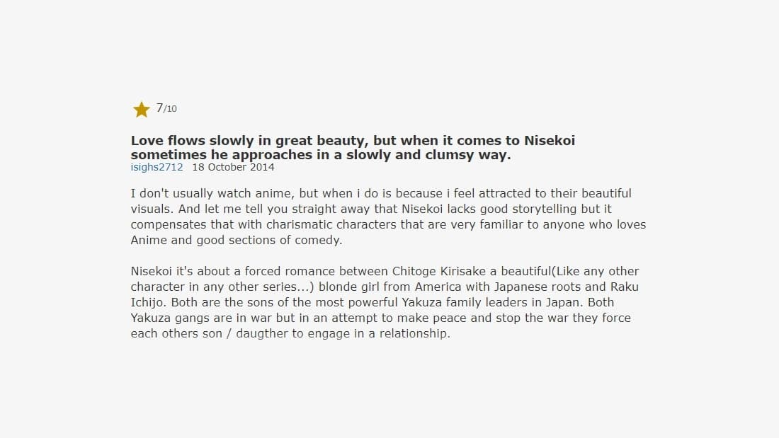 imdb review on nisekoi